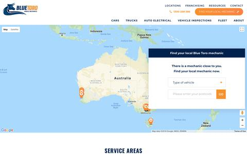 Screenshot of Locations Page bluetoro.com.au - Find Your Local Mechanic | Blue Toro Mobile Mechanics - captured Aug. 2, 2018