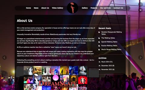 Screenshot of About Page dreamscape-events.com - About Us | Dreamscape-Events - captured Oct. 5, 2014