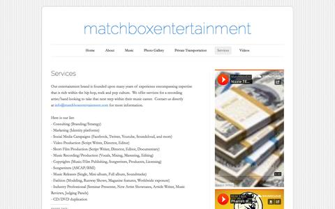 Screenshot of Services Page wordpress.com - Services | matchboxentertainment - captured Oct. 27, 2014