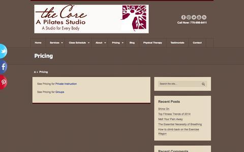 Screenshot of Pricing Page thecoreapilatesstudio.com - Pricing | The Core, A Pilates Studio - captured Oct. 7, 2014