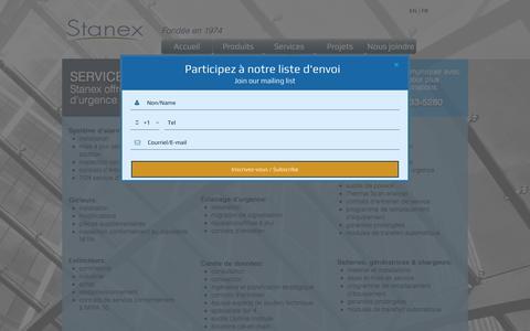 Screenshot of Services Page stanex.com - Stanex | Services - captured Nov. 4, 2017