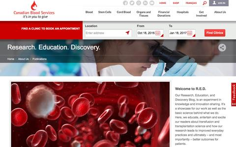 Screenshot of Blog blood.ca - Research. Education. Discovery.   Canadian Blood Services - captured Oct. 18, 2016