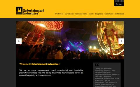 Screenshot of Home Page e-i.co.uk - Event Planners and Catering in UK | Event Production - captured Jan. 29, 2016