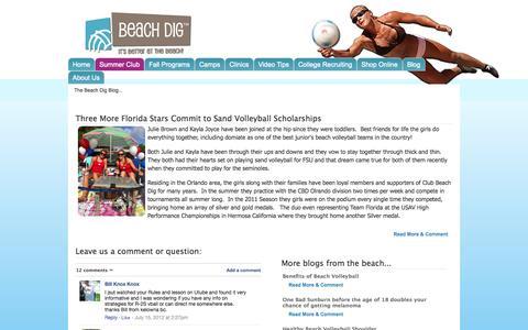 Screenshot of Blog beachdig.com - Beach Dig | Beach Volleyball Training, - captured Oct. 5, 2014