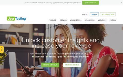 Screenshot of Home Page usertesting.com - UserTesting | User Experience Research Platform - captured Aug. 24, 2017