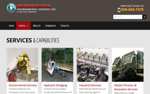 Screenshot of Services Page metenviro.com - Environmental Cleaning and Maintenance Services for Municipalities, Industries and Utilities | Services & Capabilities | Metropolitan Environmental Services, Inc. a Carylon Corporation Company - captured Nov. 28, 2016