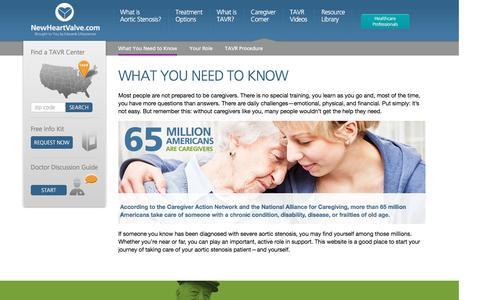 Screenshot of About Page newheartvalve.com - TAVR Caregivers   New Heart Valve - captured Jan. 31, 2017