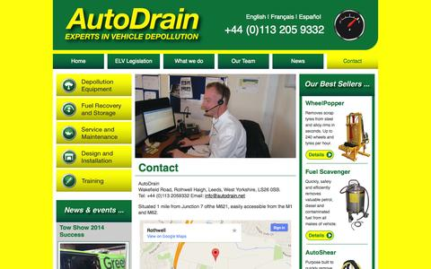 Screenshot of Contact Page autodrain.net - Contact AutoDrain for Scrap Vehicle Vehicle Depollution Systems - captured Oct. 4, 2014
