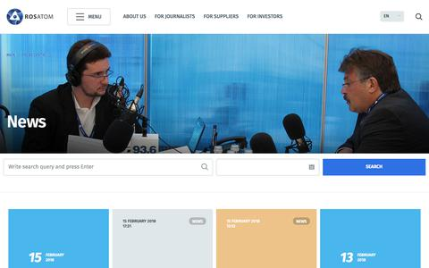 Screenshot of Press Page rosatom.ru - News - captured Feb. 19, 2018