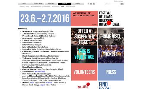 Screenshot of Team Page belluard.ch - Team - Contact -  Festival Belluard Bollwerk International - captured June 2, 2016