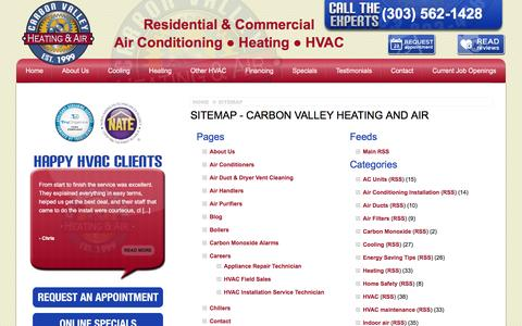 Screenshot of Site Map Page carbonvalleyheatingandair.com - Sitemap - Carbon Valley Heating and Air - Firestone Air Conditioning Company - captured May 14, 2017