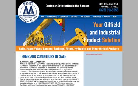 Screenshot of Terms Page mccartyequipment.com - McCarty Equipment Co. - captured July 22, 2016