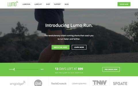 Screenshot of Home Page lumobodytech.com - Lumo Run - Revolutionary Smart Running Shorts - captured Oct. 8, 2015