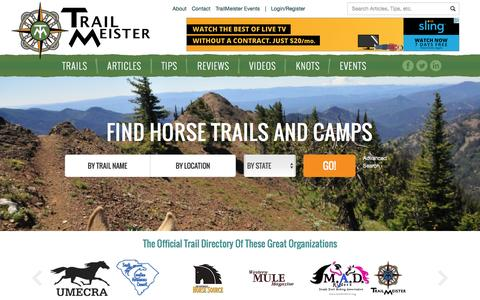 Screenshot of Home Page trailmeister.com - TrailMeister – Horse Trail and Horse Camp Directory and Guide - captured June 14, 2016