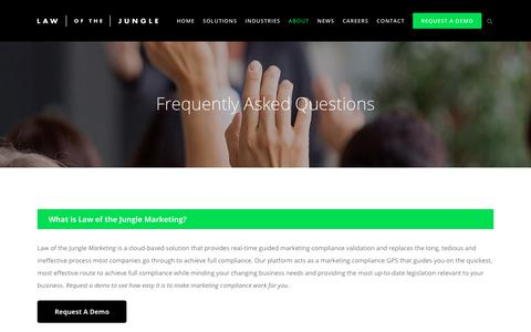 Screenshot of FAQ Page lawofthejungle.com.au - Law of the Jungle Marketing: Frequently Asked Questions (FAQs) - captured July 21, 2017