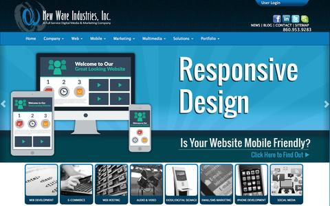 Screenshot of Home Page Menu Page newwaveindustries.com - CT Web Design Company Android and iPhone App Development Connecticut - captured Feb. 18, 2016