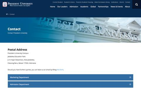 Screenshot of Contact Page president.ac.id - Contact | President University - captured Aug. 22, 2017