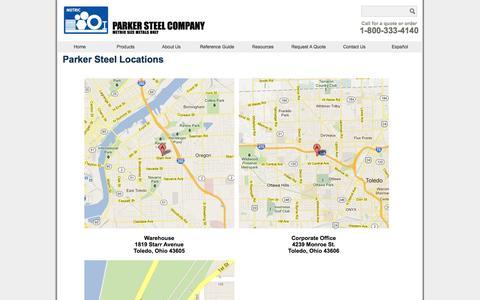 Screenshot of Locations Page metricmetal.com - Metric Metals Locations - captured Jan. 25, 2016