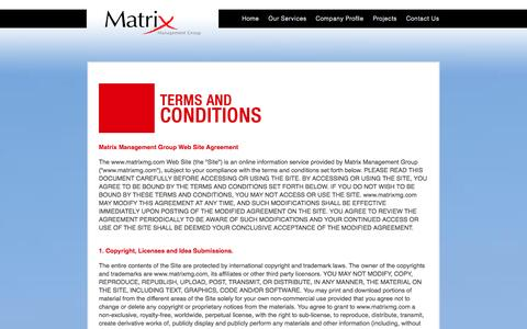 Screenshot of Terms Page matrixmg.com - Terms and Conditions - Matrix Management Group - captured Oct. 27, 2014