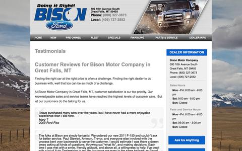 Screenshot of Testimonials Page bisonford.com - Customer Reviews of Bison Motor Company | Great Falls, MT Car Dealer - captured July 29, 2016