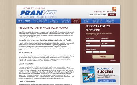 Screenshot of Testimonials Page frannet.com - Franchise Consultant Reviews - FranNet - FranNet - Local. Trusted Franchisee Experts - captured Sept. 30, 2014