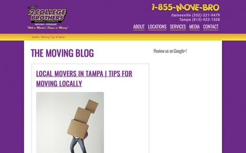 Screenshot of Press Page 2collegebrothers.com - Tampa Moving and Storage   Moving Tips & News   2 College Brothers - captured Oct. 21, 2018