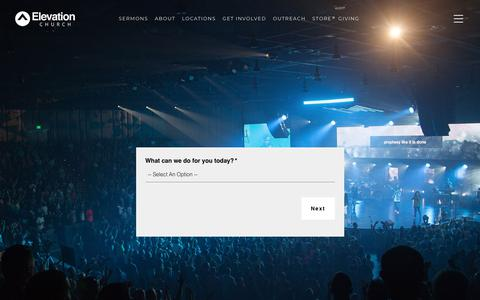 Screenshot of Contact Page elevationchurch.org - Contact - Elevation Church - captured Sept. 12, 2018