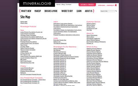 Screenshot of Site Map Page mineralogiemakeup.com - Mineralogie Mineral Makeup - Site Map - captured Jan. 21, 2016