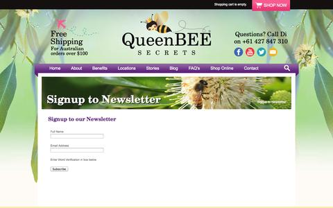 Screenshot of Signup Page queenbeesecrets.com.au - Signup to Newsletter - captured Sept. 30, 2014