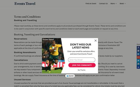 Screenshot of Terms Page events.com.au - Terms and Conditions | Events Travel, sports travel experts - captured Sept. 29, 2018