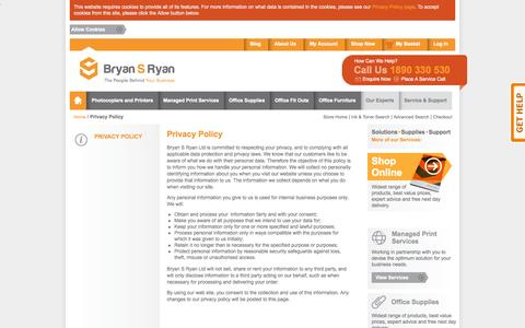 Screenshot of Privacy Page bryansryan.ie - Privacy Policy - captured Sept. 18, 2014