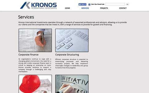 Screenshot of Services Page kronosinternationalinvestments.com - Kronos International Investments Limited - captured Nov. 27, 2016