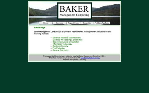 Screenshot of Home Page bakermc.com.au - Welcome to Baker Management Consulting - captured Oct. 5, 2014