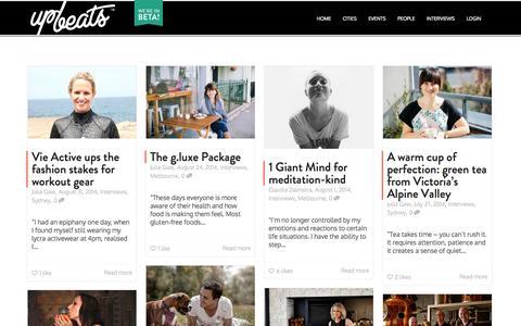 Screenshot of Blog upbeats.co - INTERVIEWS | UPBEATS | GOOD LIVING BY DESIGN - captured Oct. 4, 2014