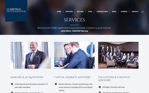 Screenshot of Services Page clairfield.com - Clairfield International     Services - captured Aug. 4, 2017