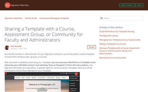 Screenshot of Support Page digication.com - Sharing aTemplate with a Course, Assessment Group, or Community for Faculty and Administrators – Digication Help Desk - captured Jan. 8, 2020