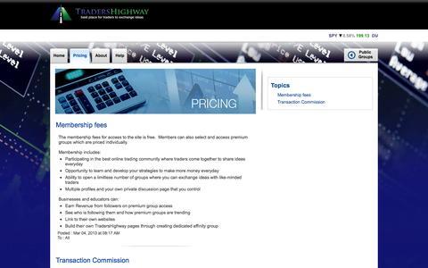 Screenshot of Pricing Page ikonverse.com - tradershighway.ikonverse - captured Sept. 13, 2014
