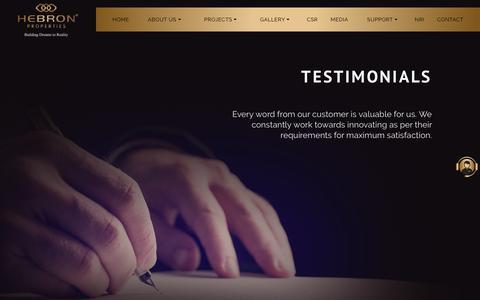 Screenshot of Testimonials Page hebronproperties.com - Client Testimonial - Hebron Properties - captured July 11, 2017