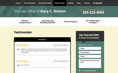 Screenshot of Testimonials Page gcnelsonlaw.com - Testimonials | The Law Office of Gary C. Nelson | Modesto, CA - captured Sept. 27, 2018