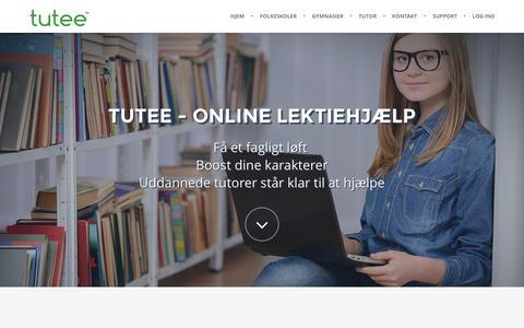 Screenshot of Home Page tuteeapp.com - Tutee - Hjem - captured Jan. 26, 2015