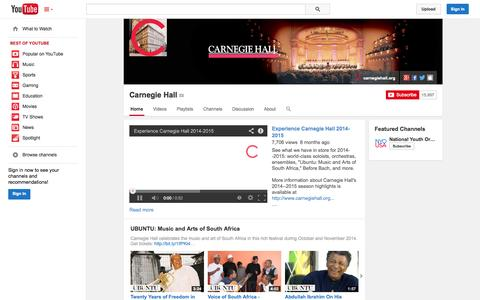 Screenshot of YouTube Page youtube.com - Carnegie Hall  - YouTube - captured Oct. 22, 2014