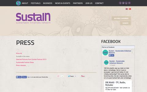 Screenshot of Press Page sustain.nu - Press - Sustainable Initiatives Network - captured Oct. 27, 2014
