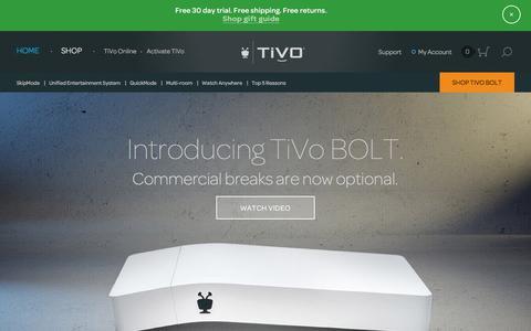 Screenshot of Home Page tivo.com - TiVo   DVRs, Streaming, and Unified Entertainment System - captured Dec. 18, 2015
