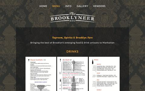 Screenshot of Menu Page brooklyneer.com - Menu — Brooklyneer - captured Nov. 30, 2016