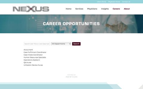 Screenshot of Jobs Page nexmc.com - Career Opportunities | Nexus - captured Nov. 3, 2019