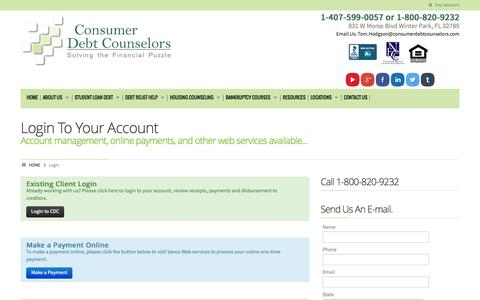 Screenshot of Login Page consumerdebtcounselors.org - Login | Consumer Debt CounselorsConsumer Debt Counselors - captured Oct. 2, 2014