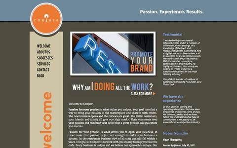 Screenshot of Home Page conjureconsulting.com - Conjure Consulting: creating solutions for the restaurant industry | Welcome - captured Sept. 30, 2014