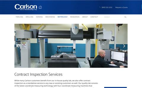 Screenshot of Services Page carlsontool.com - Contract Inspection Services - Metrology - Carlson Tool & Manufacturing - captured July 16, 2017