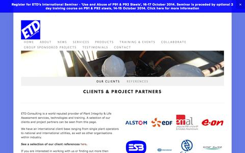 Screenshot of Testimonials Page etd-consulting.com - Our clients — ETD Consulting - captured Sept. 26, 2014