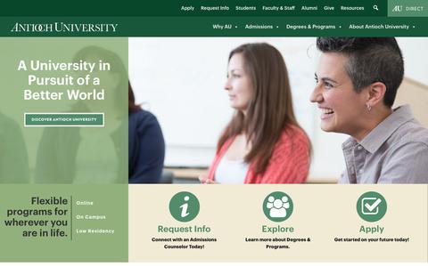 Screenshot of Home Page antioch.edu - Antioch University   A University in Pursuit of a Better World - captured Sept. 24, 2018